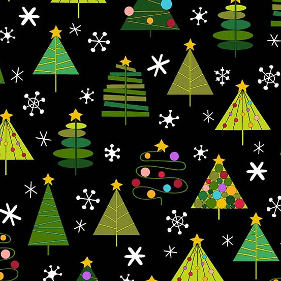 Holiday Tweets Trees in Black