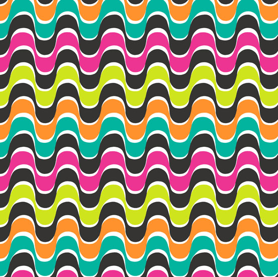 Wavy Ribbon Stripes in Orange, Teal, Lime, Pink, and Black:  Rio by Jane Dixon for Andoverby