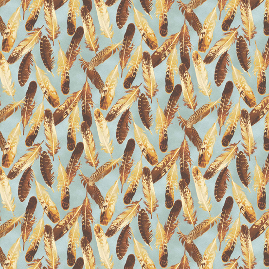 Quail Feathers on Light Gray - Quail by Andover Fabrics