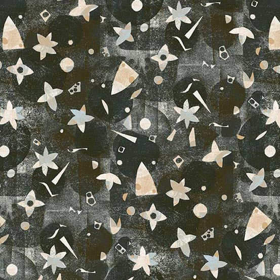 Light Peach Shapes on Dark Charcoal Gray:  Victoria Lawn - Print Making by Lizzy House for Andover