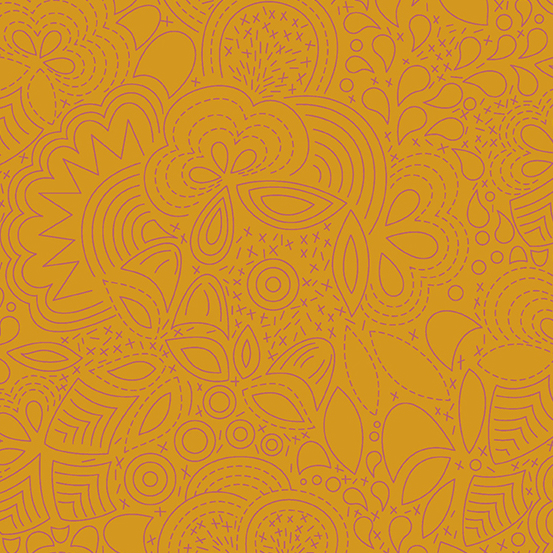 Sun Print 2020 Floral Outlines 8450-Orange