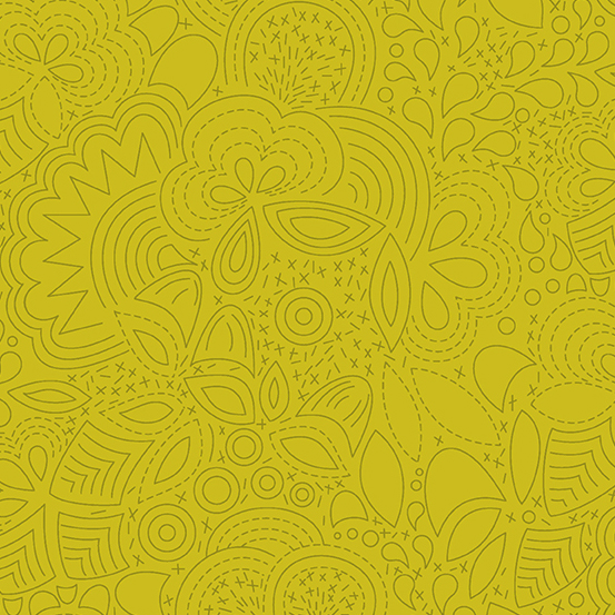 Sun Print 2020 Floral Outlines 8450-Yellow