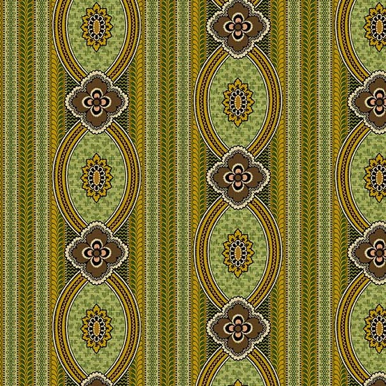 Medallion Stripe in Olive Green and Gold: Bally Hall by Di Ford-Hall for Andover Fabrics
