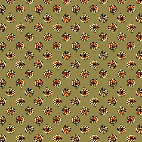 Cotton Print- Emma by Kathy Hall- Little Flowers- Avocado STH#11229440