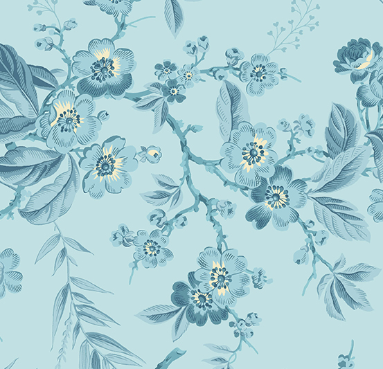 Andover - Something Blue by Laundry Basket Quilts - Bouquet Light Blue A-8822-W
