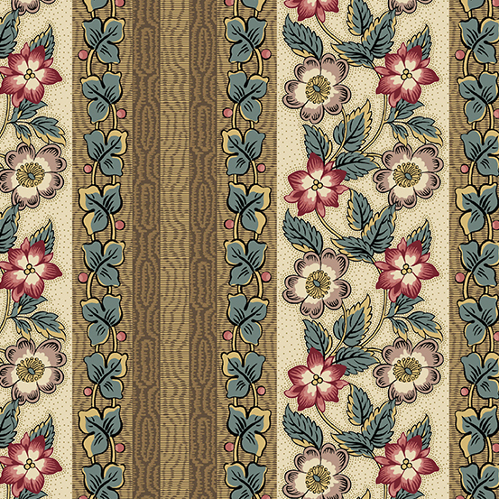 Floral Stripes with Blue, Pink, and Tan on Brown and Cream:  Windermere by Di Hall-Ford for Andover Fabrics (Reproduction Fabrics)