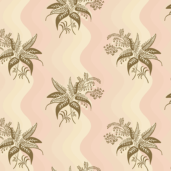 Single Tan Floral Spray on Shades of Pink: Windermere by Di Hall-Ford for Andover Fabrics (Reproduction Fabrics)