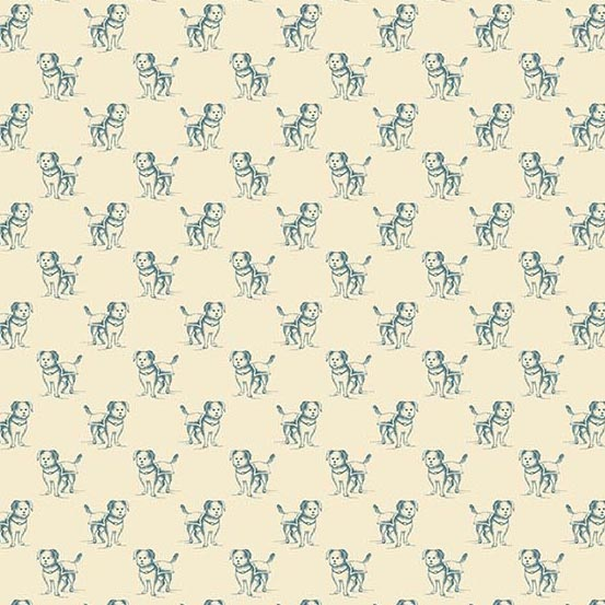 Small Dogs Outlined in Teal on Cream:  Yarra Valley by Max & Louise for Andover Fabrics