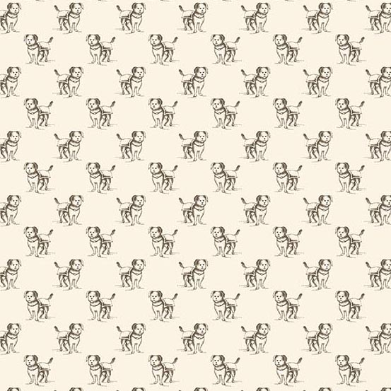 Small Dogs Outlined in Brown on Cream:  Yarra Valley by Max & Louise for Andover Fabrics