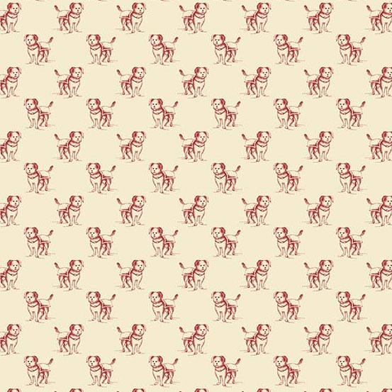 Small Dogs Outlined in Red on Cream:  Yarra Valley by Max & Louise for Andover Fabrics