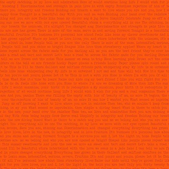 Sun Print 2019 Text Print - Orange (Path Tart)