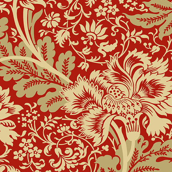 Riviera Rose A-9083-R Red and Cream Floral