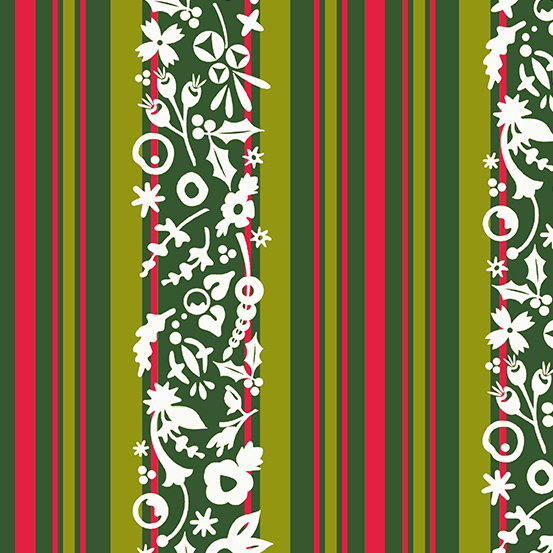 Stripe A-9118-G/Mistletoe: Holiday (Alison Glass)