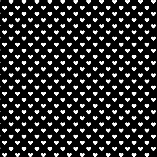 Hearts White on Black Andover A-9149-K