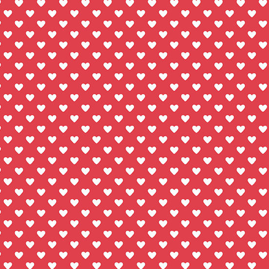 Hearts White on Red Andover A-9149-R