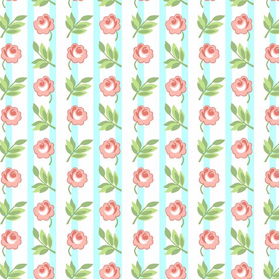 Roseberry Cottage A-9212-E Blue Floral Stripe