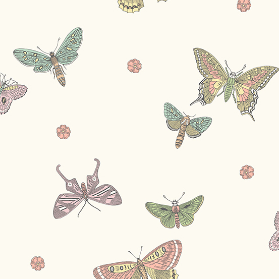 Andover Botanica All Over Butterflys on Cream