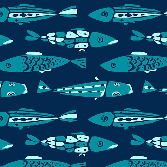 By the Sea by Andover Fabrics - Fish - Navy