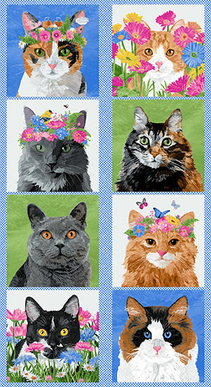 A-9342-XB Meow Meadow Panel