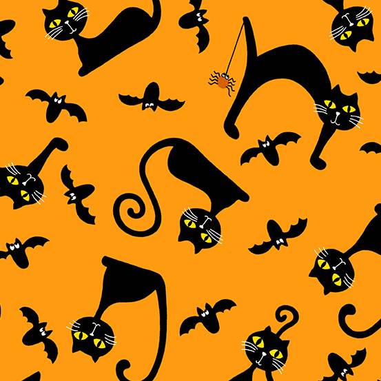 AND- A Spooky Good Time Black Cats On Orange