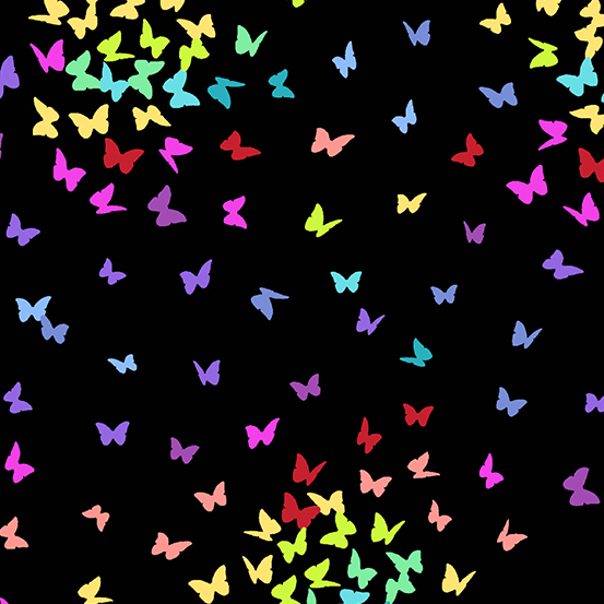 Rainbow Butterflies Black