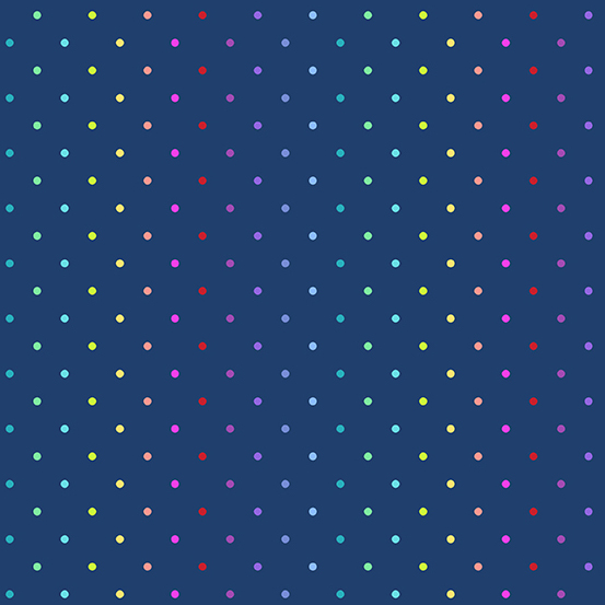 Rainbow Swiss Dot Navy