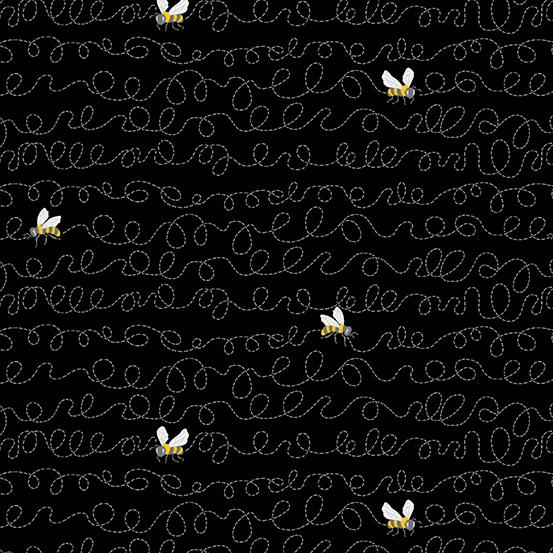 Andover Fabrics Sunny Bee A-9434-K Bee Flight on Black