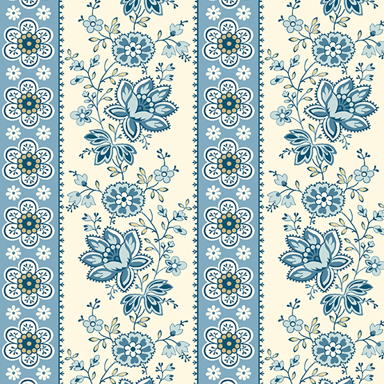 Perfect Union Floral Stripe Blue Bell