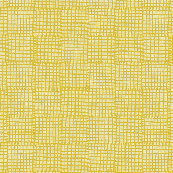 Grid in Dark Golden Yellow: Maker Maker by Sarah Golden for Andover - 55% LINEN 45% Cotton