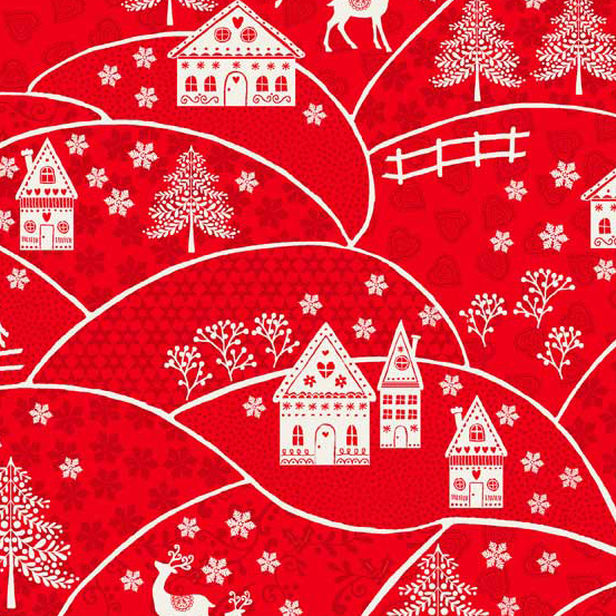 Fabric - Scandi 2018 Red Landscape