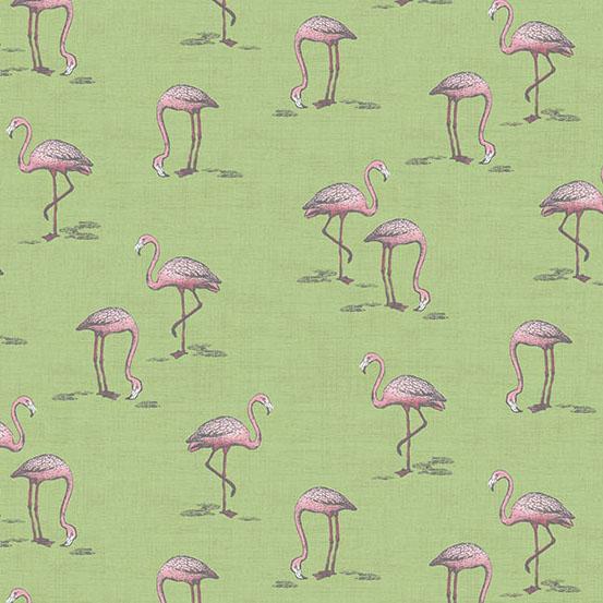 Andover Fern Garden Flamingo Green