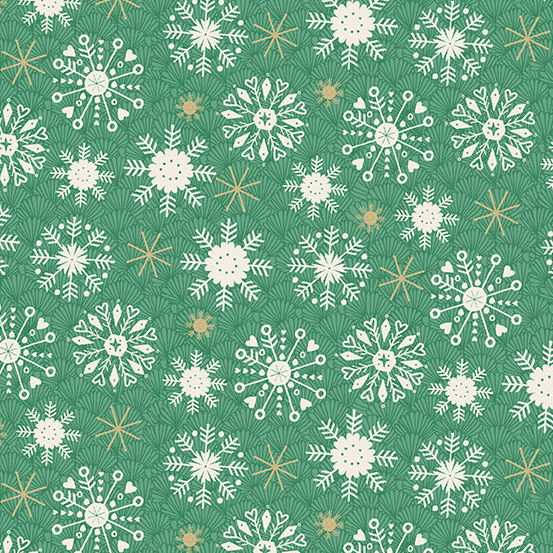 Makower Merry All over snowflakes on Green