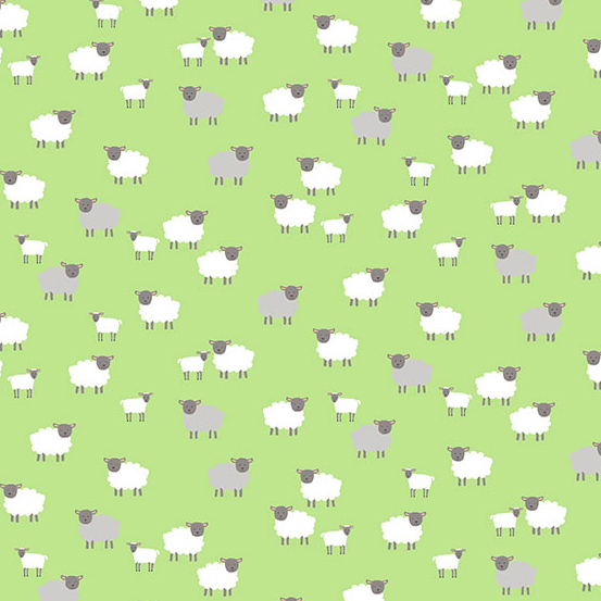 Spring Sheep in Green by Makower UK for Andover Fabrics