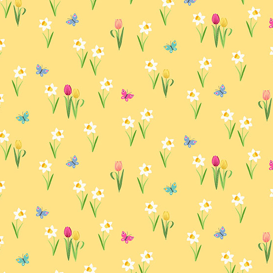 Spring toss yellow with scattered flowers