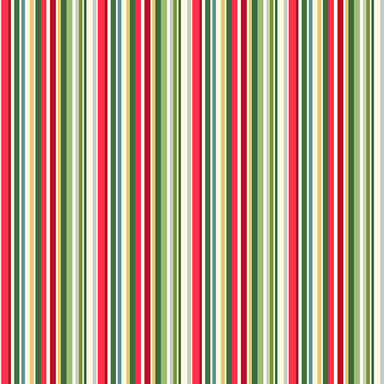 Makower UK Yuletide TP-2203-G Metallic Multi Straight Stripe