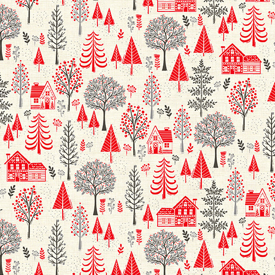 Makower UK Scandi 2020 TP-2218-R Trees Red
