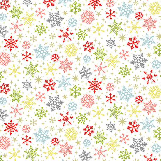 Snowflakes on White - Joy by  Andover Fabrics