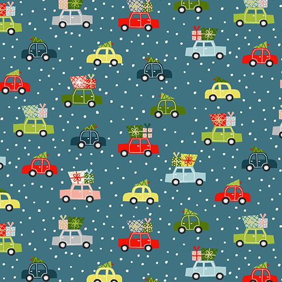 Holiday Cars on Blue, Joy by  Andover Fabrics