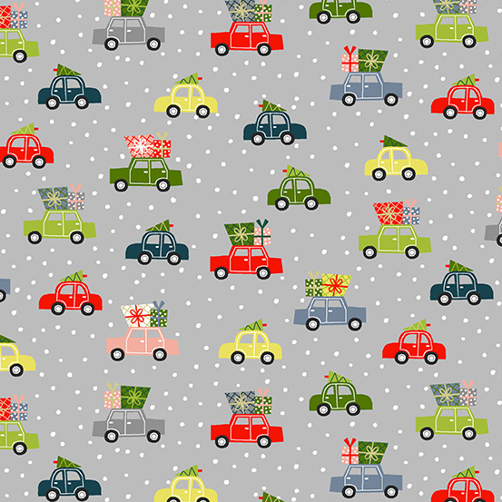 Cars with Trees on Grey, Joy by  Andover Fabrics