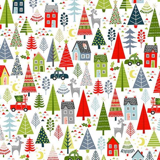 Trees on White, Joy by  Andover Fabrics