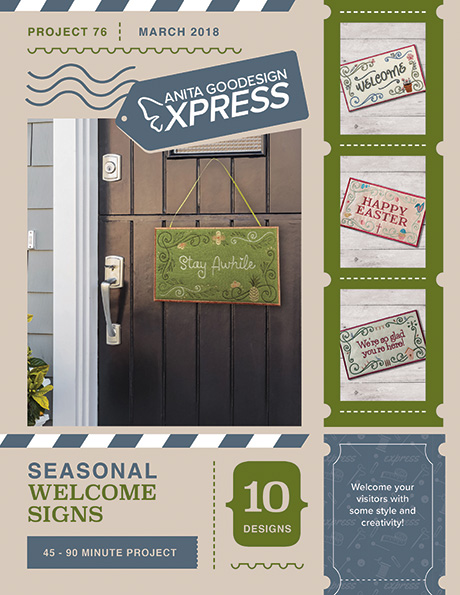 Anita's Express - Seasonal Welcome Signs Machine Embroidery CD