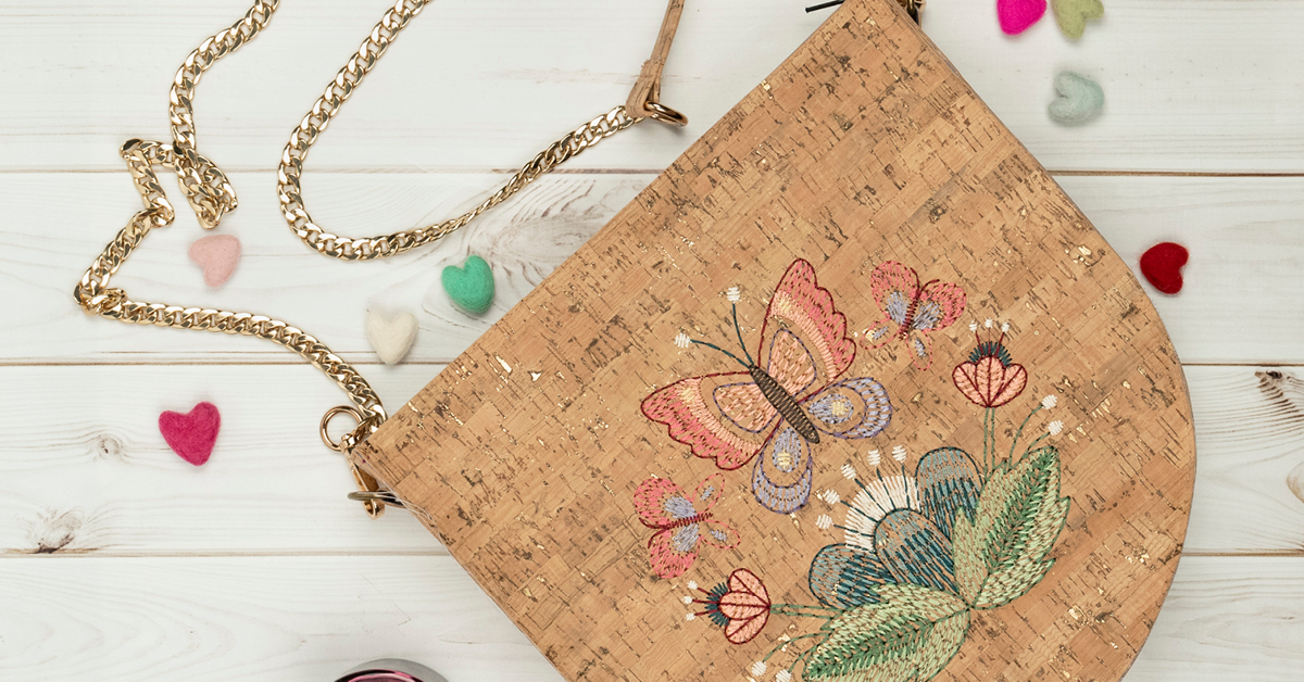 Anita Goodesign Hand Stitched Cork Bags Embroidery Designs