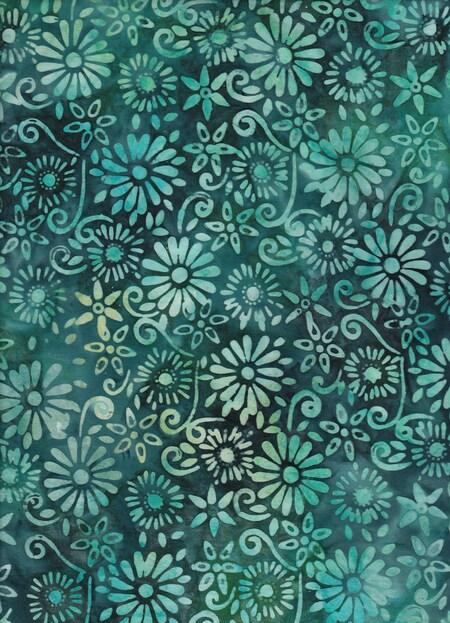 BeColourful Batik - Deep Sea Green Flowers
