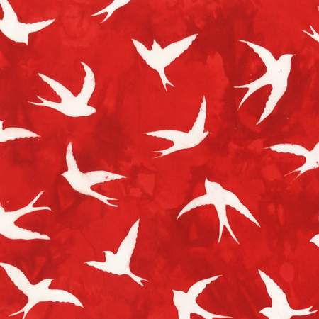 Batik- Cotton Print- Art Inspirations- Birds- Red STH#11229230