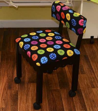 Black Sewing Chair / Bright Buttons Black