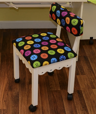 White Sewing Chair Black - Riley Blake Buttons