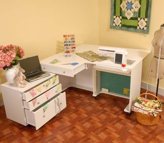 Kangaroo and Joey II Cabinet - Ash White - Kangaroo Sewing Furniture