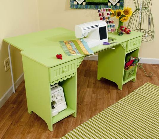 Olivia Cabinet Pistachio Green with Green Quilt Leaf - Arrow Sewing Cabinets