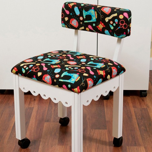 White Sewing Chair / Black Sewing Notions