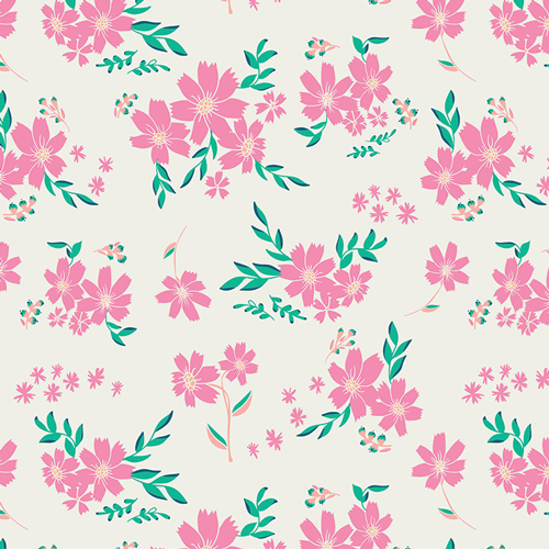 Fusion Pink Flowers on Cream